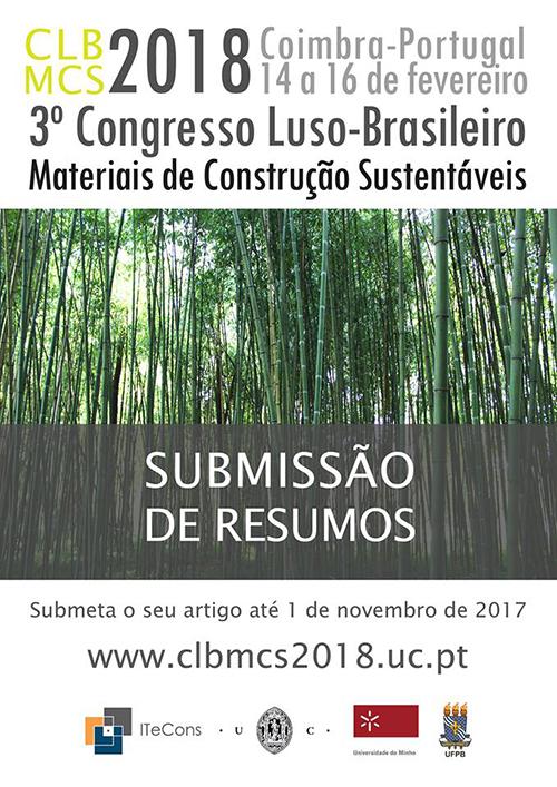 Submissão de Resumos para o 3.º Congresso Luso-Brasileiro de Materiais de Construção Sustentáveis
