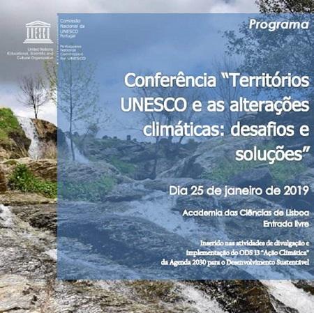 """CONFERÊNCIA """"Territórios UNESCO e alterações climáticas: desafios e soluções"""""""
